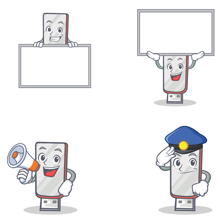 Set of flashdisk character with police board megaphone