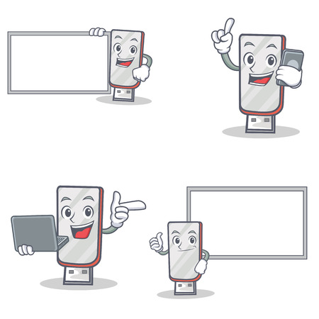 Set of flashdisk character with laptop phone and board