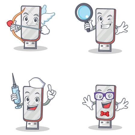Set of flashdisk character with cupid detective nurse geek Illustration
