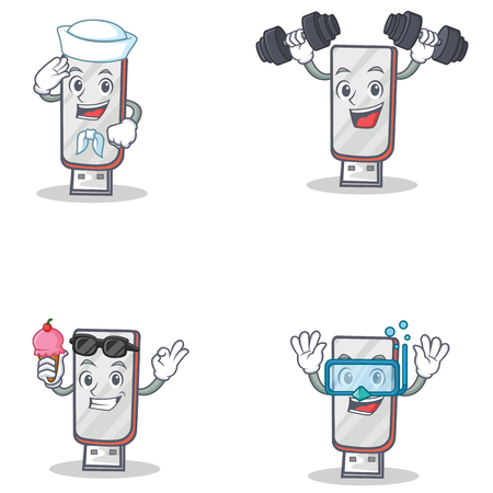 Set of flashdisk character with sailor fitness ice cream diving vector art Illustration