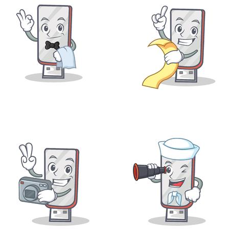 Set of flashdisk character with waiter menu photographer binocular