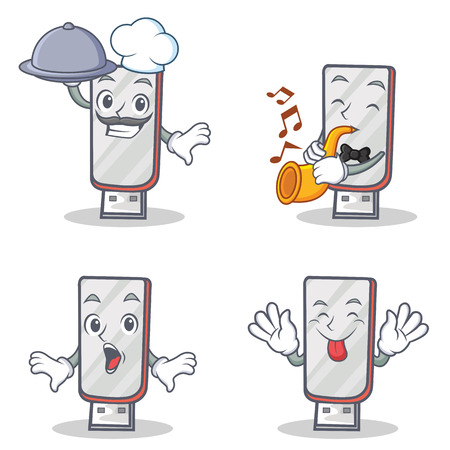 Set of flashdisk character with chef trumpet suprised tongue out