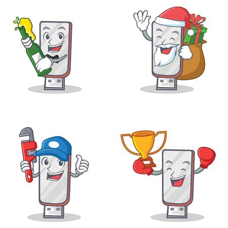 Set of flashdisk character with beer gift plumber winner