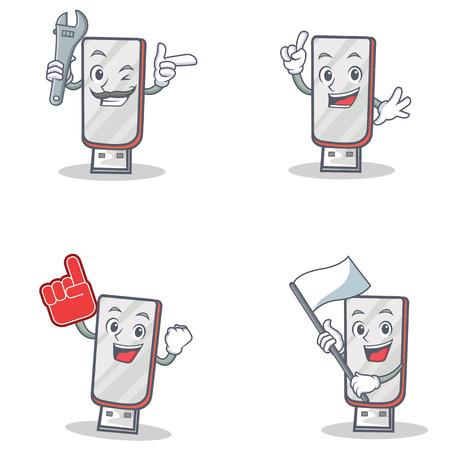 Set of flashdisk character with mechanic foam finger flag