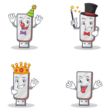 Set of flashdisk character with clown magician king crazy