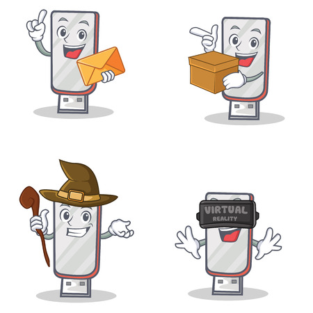 Set of flashdisk character with envelope box witch virtual Illustration
