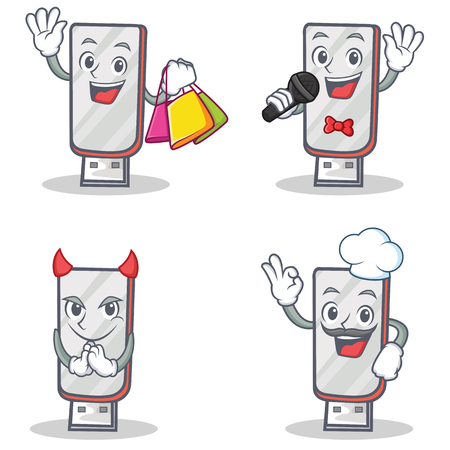 Set of flashdisk character with shopping karaoke devil chef