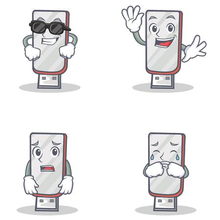 Set of flashdisk character with cool waving afraid crying