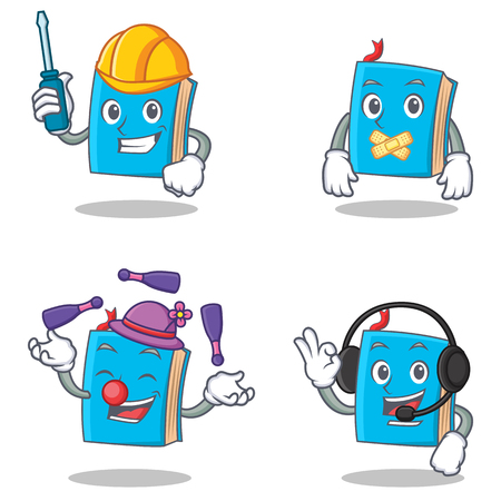 silent: Set of blue book character with automotive silent juggling headphone vector illustration.