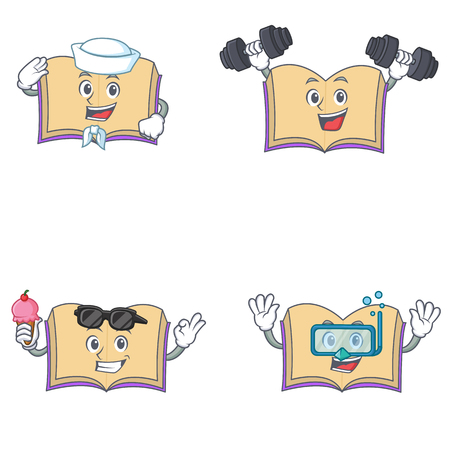 Set of open book character with sailor fitness ice cream diving vector illustration