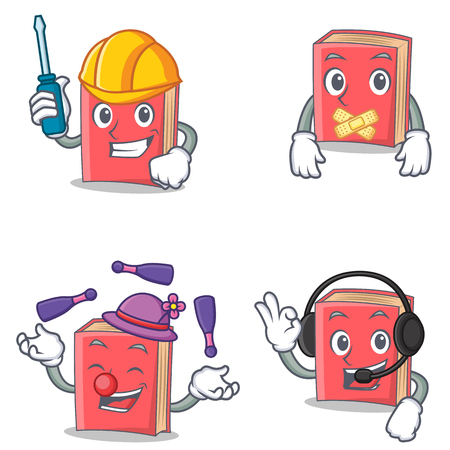 silent: Set of red book character with automotive silent juggling headphone Illustration