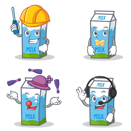 silent: Set of milk box character with automotive silent juggling headphone illustration.