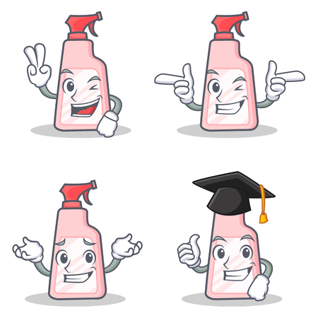 Set of cleaner character with two finger wink graduation Illustration