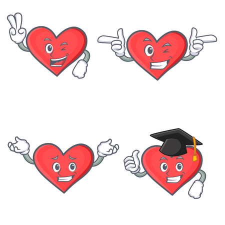 broken love: Set of heart character with two finger wink graduation vector illustration Illustration