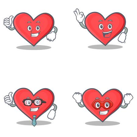 Set of heart character with proud okay businessman hero vector illustration