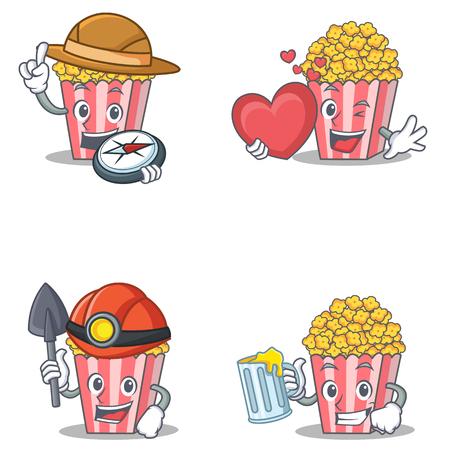 Set of Popcorn character with explorer heart miner juice