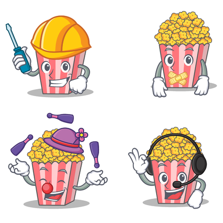 silent: Set of Popcorn character with automotive silent juggling headphone