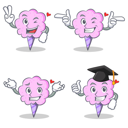 Cotton candy character set with two finger wink graduation