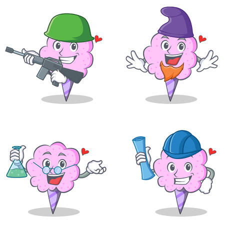 elves: Cotton candy character set with army elf professor architect