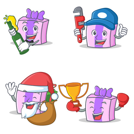 Set of gift character with beer plumber gift winner
