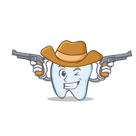 Cowboy tooth character cartoon style