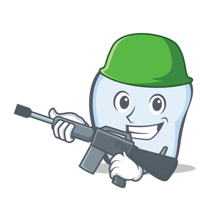 Army tooth character cartoon style Vector illustration.