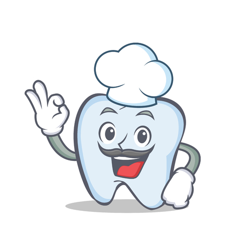 Chef tooth character cartoon style with okay Vector illustration.