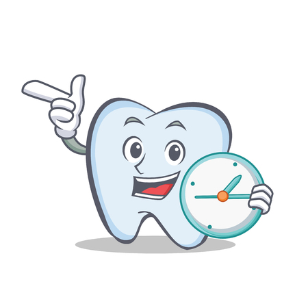 Tooth character cartoon style with clock Vector illustration.