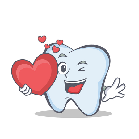 Tooth character cartoon style with heart Vector illustration.