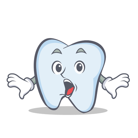 Surprised tooth character cartoon style Vector illustration.