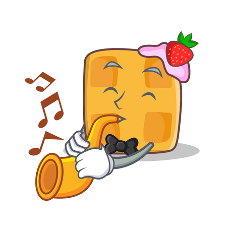 Waffle character cartoon design with trumpet Illustration