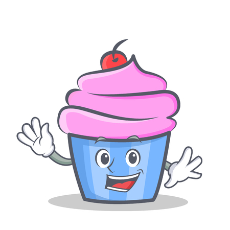 Waving cupcake character cartoon style vector illustration Stock Illustratie