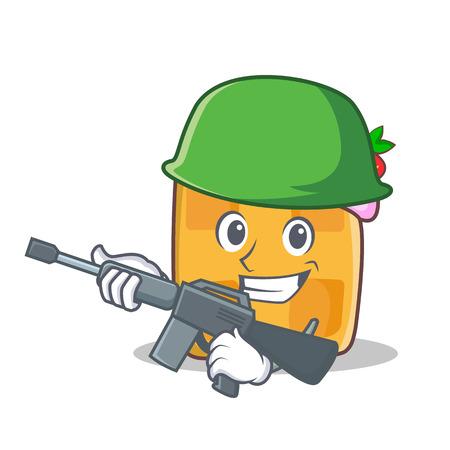 army face: Army waffle character cartoon design vector illustration Stock Photo