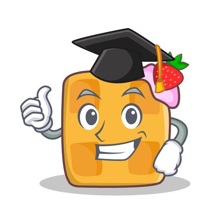 Graduation waffle character cartoon design vector illustration