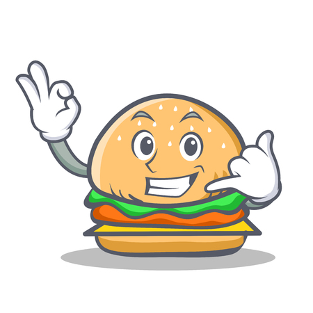 burger character fast food call me vector art