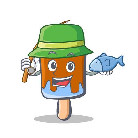 Fishing ice cream character cartoon Illustration