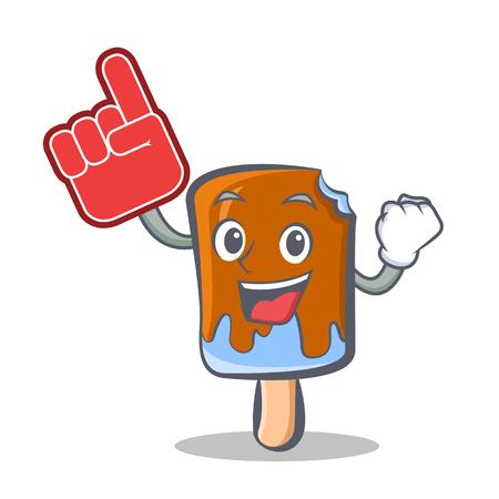 ice cream character cartoon with foam finger vector illustration