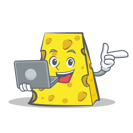 cheese character cartoon style with laptop Çizim