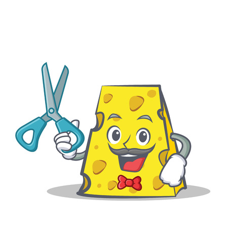 Barber cheese character cartoon style Illustration
