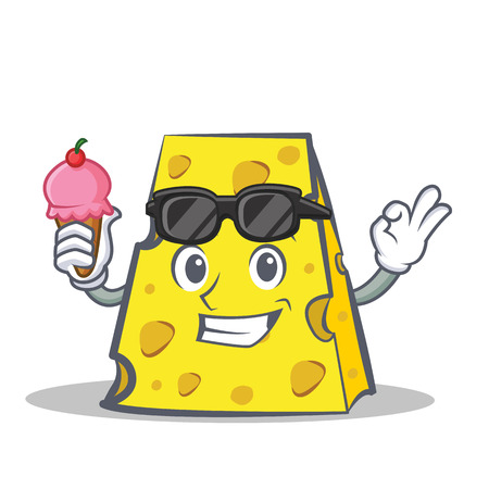 Cheese character cartoon style with ice cream.