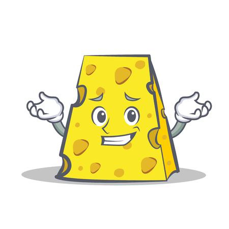 Grinning cheese character cartoon style vector illustration Illustration