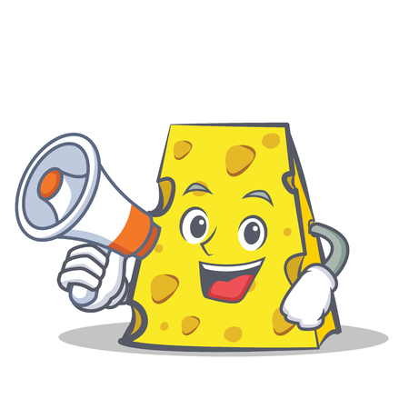 Cheese character cartoon style with megaphone