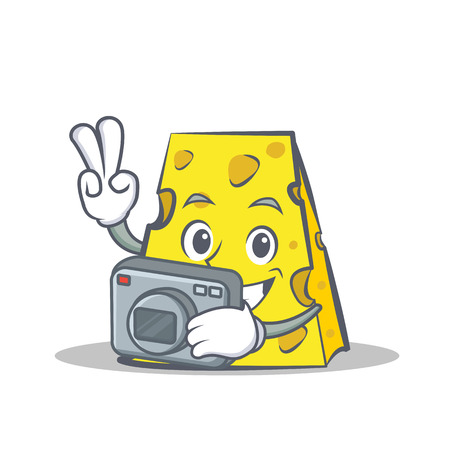 Photography cheese character cartoon style vector illustration