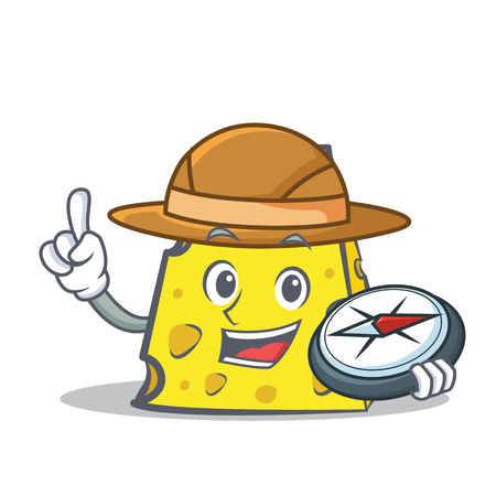 Explorer cheese character cartoon style Illustration