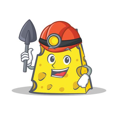 Miner cheese character cartoon style vector illustration