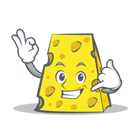 Cheese character cartoon style with call me expression