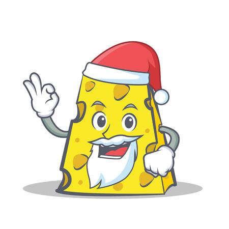Santa cheese character cartoon style vector illustration Illustration