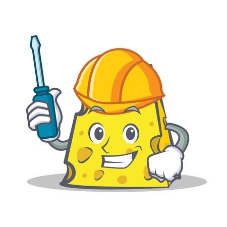 cheddar: Automotive cheese character cartoon style vector illustration Illustration