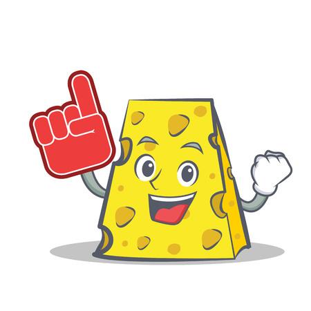 cheddar: Foam finger cheese character cartoon style vector illustration Illustration