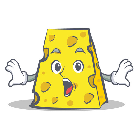 Surprised cheese character cartoon style